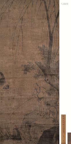 张平山(传) 柳下垂钓图 立轴 设色绢本