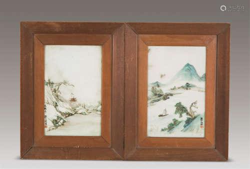 汪大沧 民国 粉彩雪景山水纹 山水纹瓷板挂屏 (一对)