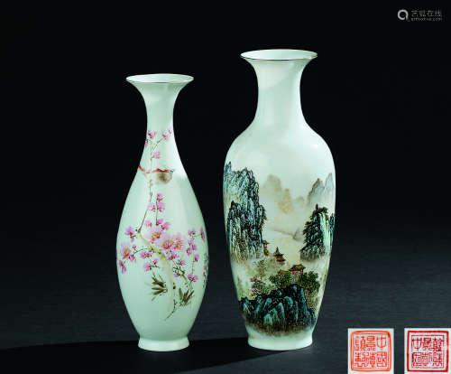 文革时期 薄胎粉彩花鸟纹瓶 薄胎粉彩山水纹瓶 (一组二件)
