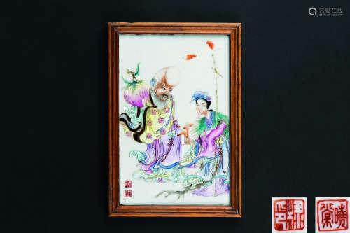 民国 晓棠款粉彩献寿图纹瓷板