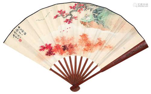 吴琴木(1894~1953) 1936年作 赏秋图·行书七言诗 成扇 设色纸本 水墨洒金纸本