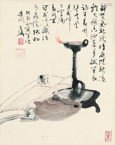 王雪涛(1903~1982) 遣闷图 设色纸本