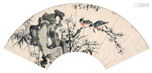 陈半丁(1876~1970) 1925年作 喜上眉梢 镜片 设色纸本
