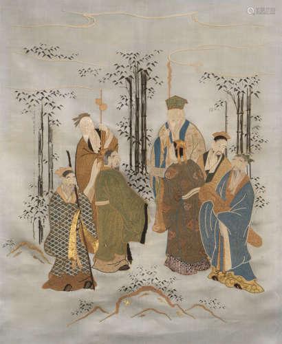 民国(1912-1949)年作 粤绣 竹林七绣