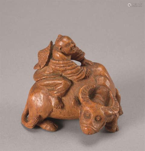 清代(1644-1911)年作 竹根雕童子牧牛摆件