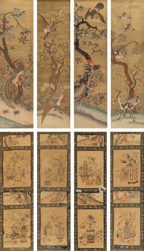 清代(1644-1911)年作 缂丝人物花卉纹四折屏 (二件一组)