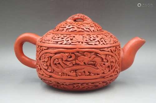 外雕漆内紫砂茶壶
