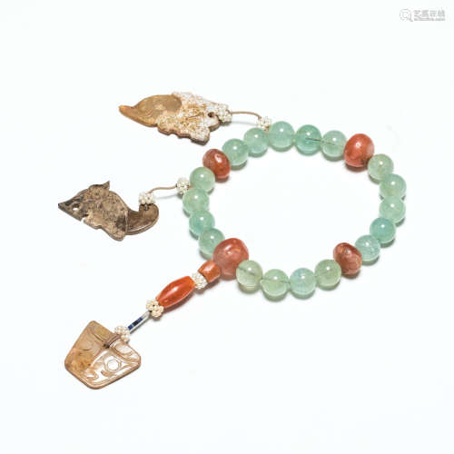19th Antique Aquamarine Prayer Beads