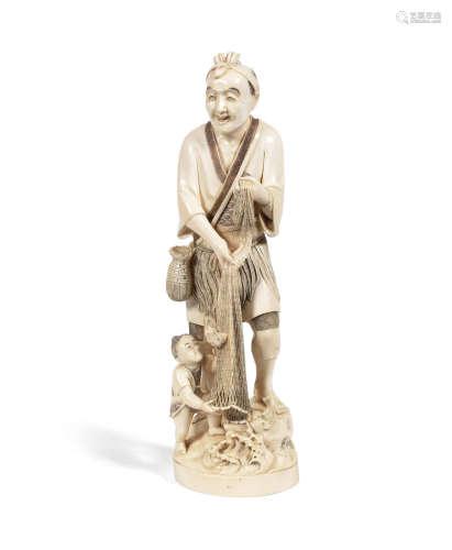 Signed, Meiji Period An ivory okimono of a fisherman