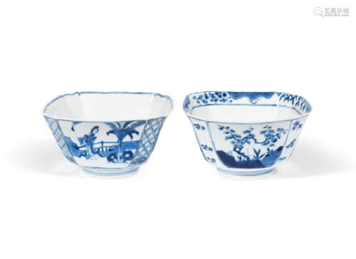 Chenghua and Xuande six-character marks, Kangxi Two blue and white square bowls