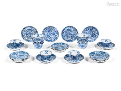 Kangxi A group of sixteen 'floral' tea bowls and saucers