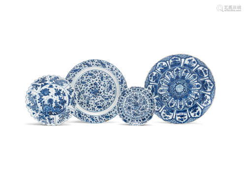 Kangxi A varied group of three blue and white dishes