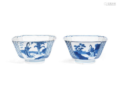 Chenghua six-character marks, Kangxi A pair of blue and white square bowls