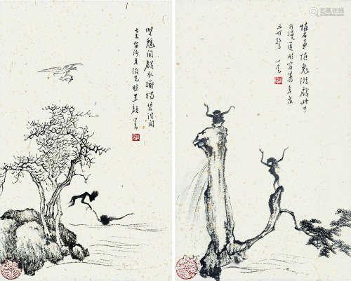 溥儒(1896~1963)(款) 小品 (两帧) 镜片 水墨纸本