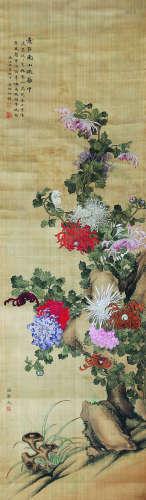 潘静淑、吴湖帆 意在南山疏璃中 绢本立轴