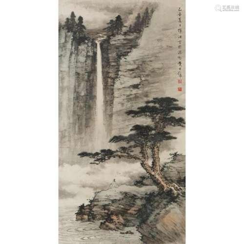 HUANG JUNBI (1899-1991) SCHOLAR VIEWING A WATERFALL, 1945 89cm high, 46.5cm wide (sight)
