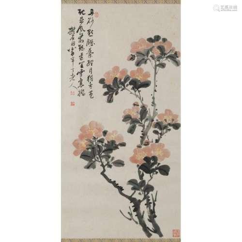CHEN BANDING (1876-1970) FLOWERS 69cm high, 35cm wide (sight)
