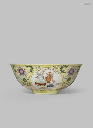 A CHINESE FAMILLE ROSE MEDALLION BOWL