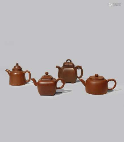 FOUR CHINESE YIXING TEAPOTS AND COVERS