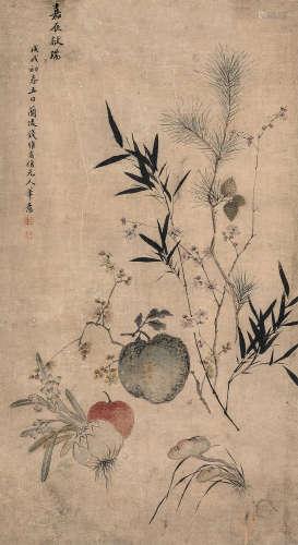 钱维乔 戊戌(1778年)作 嘉辰献瑞 镜心 纸本