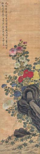 恽寿平(款) 菊石图 立轴 绢本