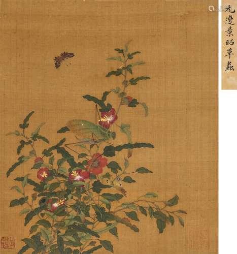 边景昭(款) 草虫花卉 镜心 绢本