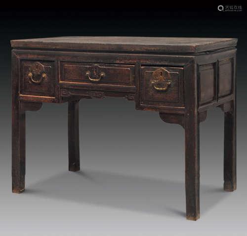 清 铁力木独板面三屉书桌