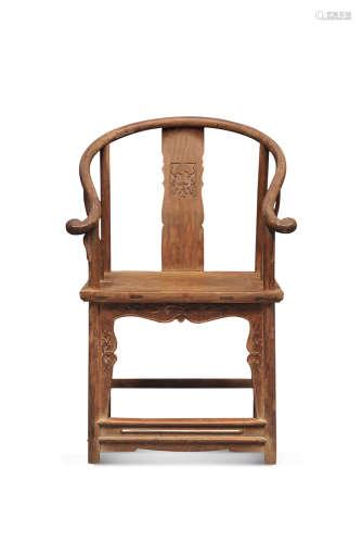 清 黄花梨云蝠纹圈椅