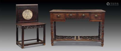 民国 红木褡裢式书桌及靠背椅