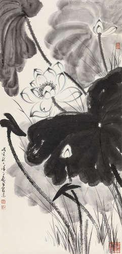 徐子鹤 戊寅(1998年)作 墨荷 镜心 纸本