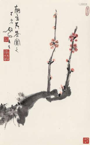 吕凤子 丁亥(1947年)作 梅花 镜心 纸本