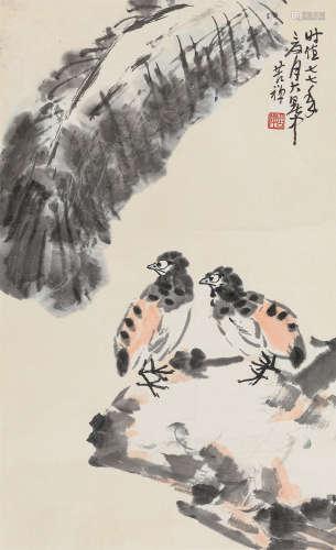李苦禅 1977年作 平安康乐 镜心 纸本