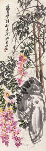 诸乐三 紫藤 立轴 纸本