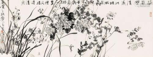 陈玉圃 庚寅(2010年)作 兰菊双清 镜心 纸本