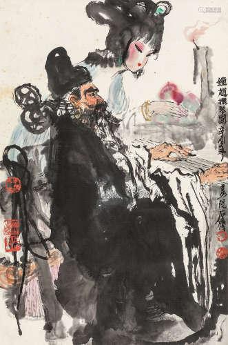 石齐 辛酉(1981年)作 钟馗抚琴图 立轴 纸本