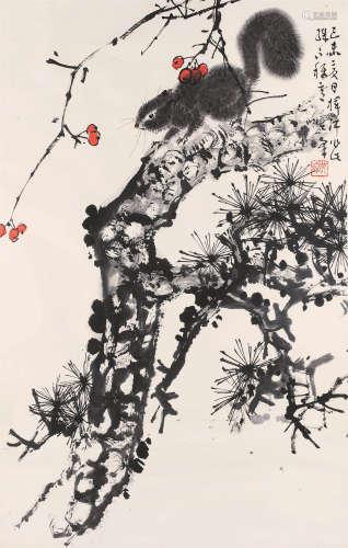 孙其峰(b.1920) 1979年 松趣 纸本设色 镜框