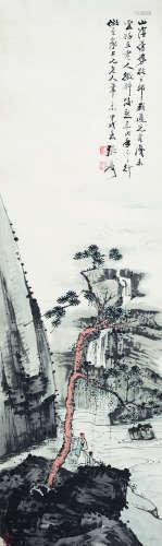 张大千(1899-1983) 1934年 松下遙江 纸本设色 镜心