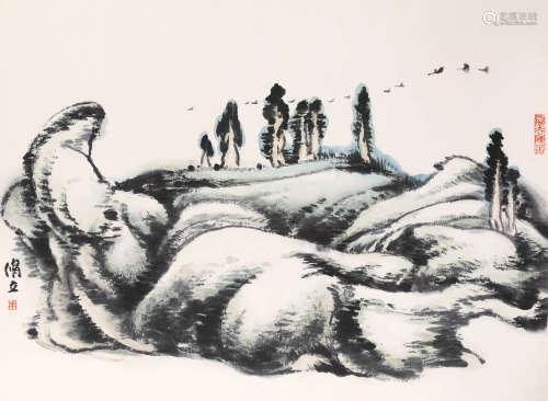 朱修立(b.1938) 山水 纸本设色 镜框