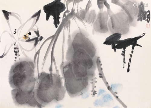 陈大羽(1912-2001) 墨荷 纸本设色 镜框