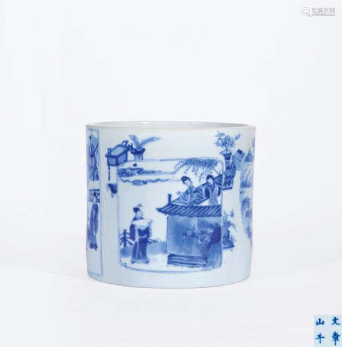 清康熙 青花开光竹林七贤、西厢记人物故事图笔筒