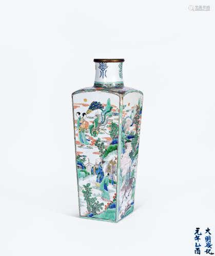 清康熙 五彩神仙人物纹天圆地方瓶