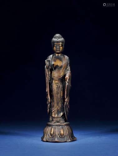 清 铜释迦立像