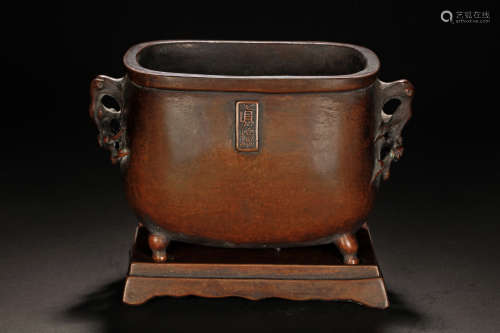 BRONZE CENSER WITH PLUM FLOWER HANDLES AND STAND