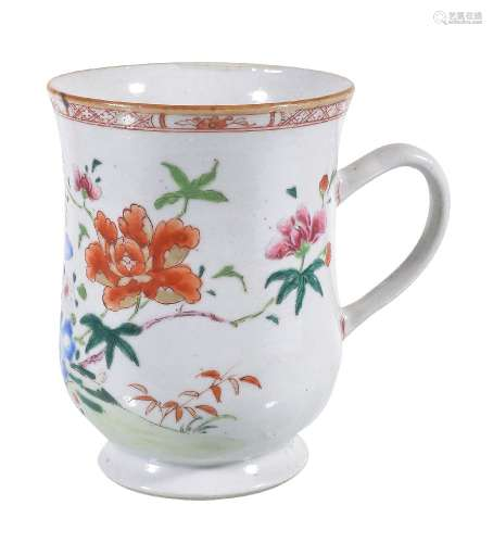 A Chinese Famille Rose bell-shaped Tankard, Qianlong, painted in white, pink, light and dark
