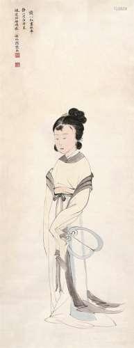 张玉(1920~1952) 仕女 镜心 设色纸本