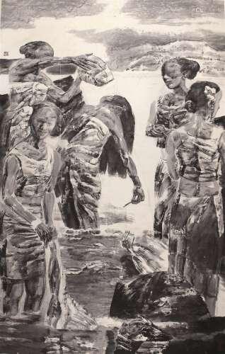 张江舟(b.1961) 女人河 镜心 水墨纸本