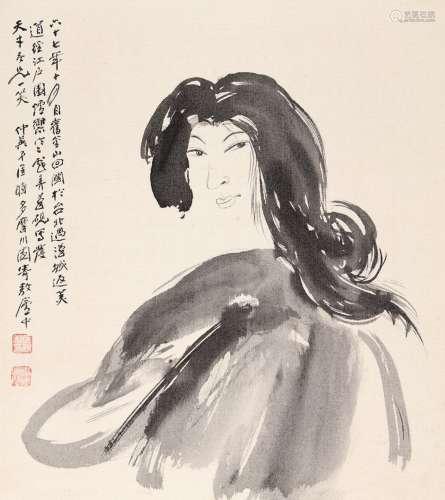 匡仲英(1924~2015) 仕女图 画仙板 水墨卡绢