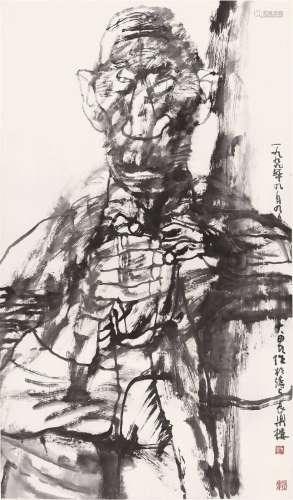 施大畏(b.1950) 山黑人 镜心 水墨纸本