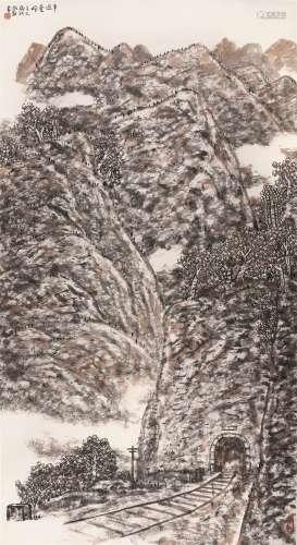 赵卫(b.1957) 车过秦岭 镜心 设色纸本