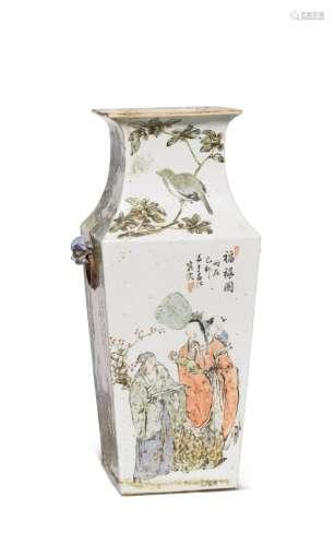 1879年 浅绛福禄图方瓶